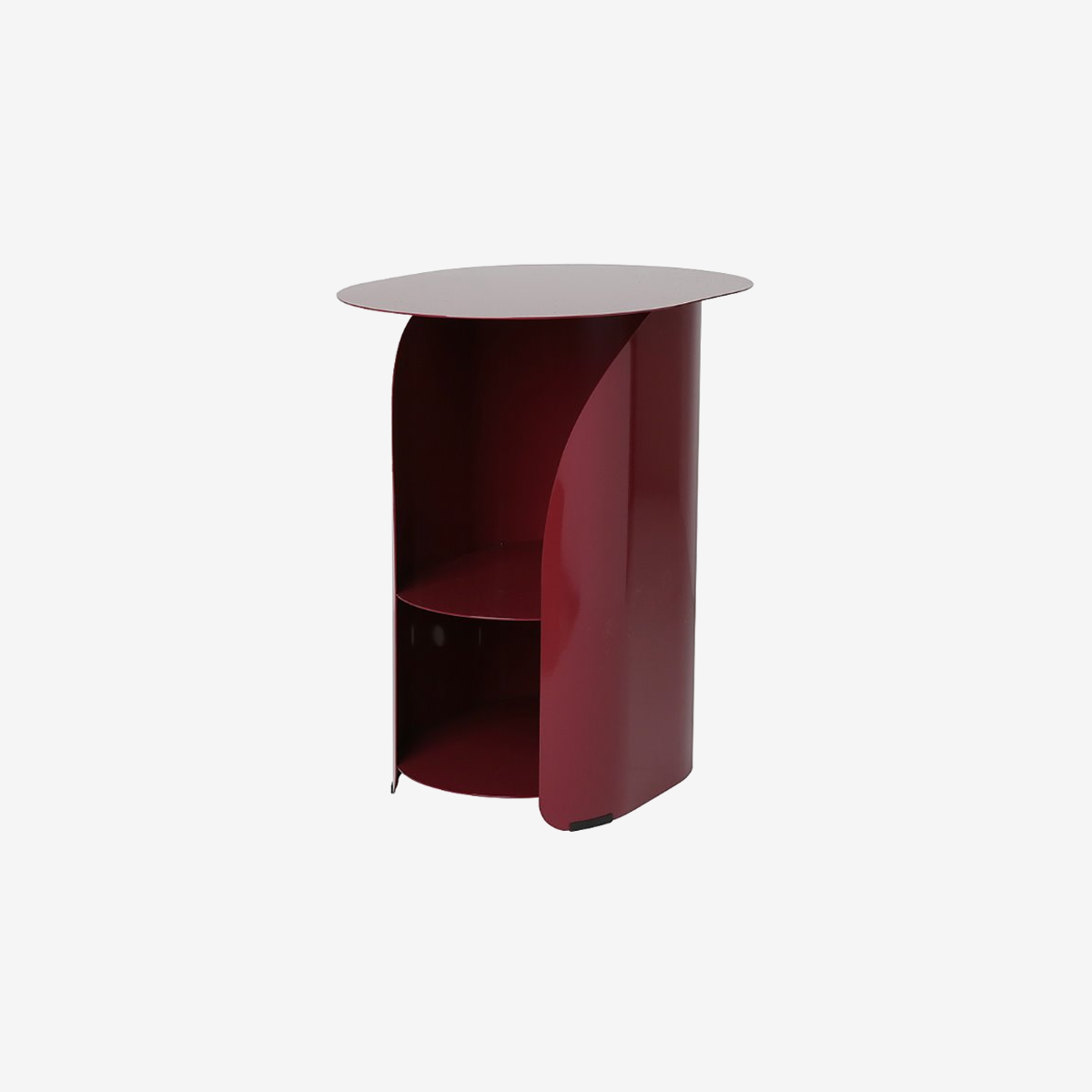 Curve Side Table_Burgundy