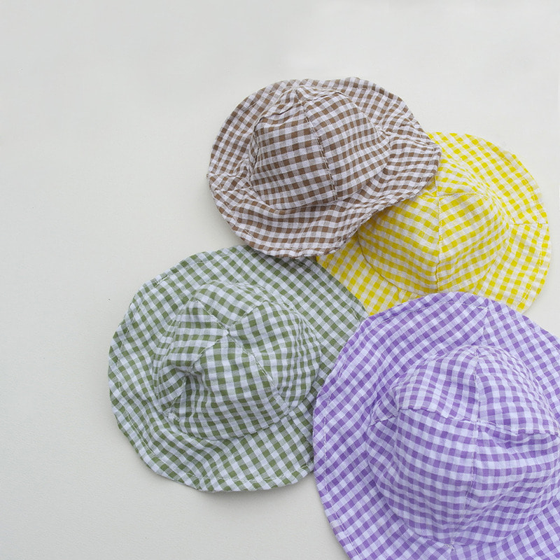 Witty check bucket hat (4color)