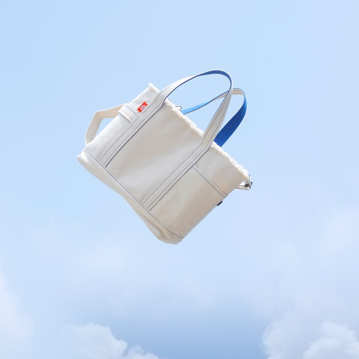 Canvas Tote&Shoulder Bag / Ivory-blue(L)