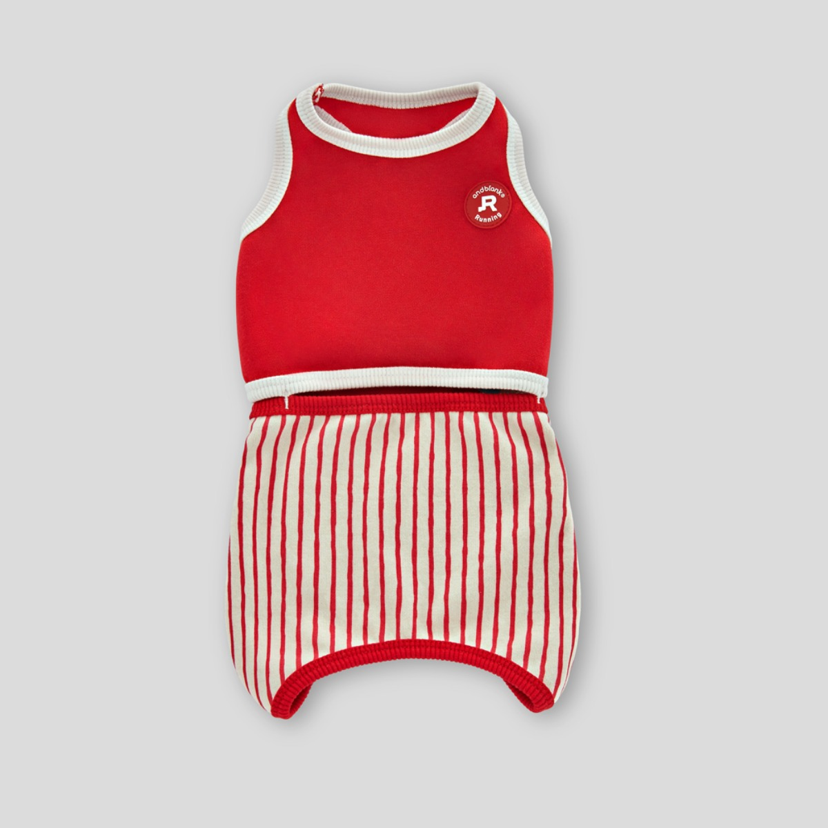 [andblank] STRIPES, ROMPER : RED