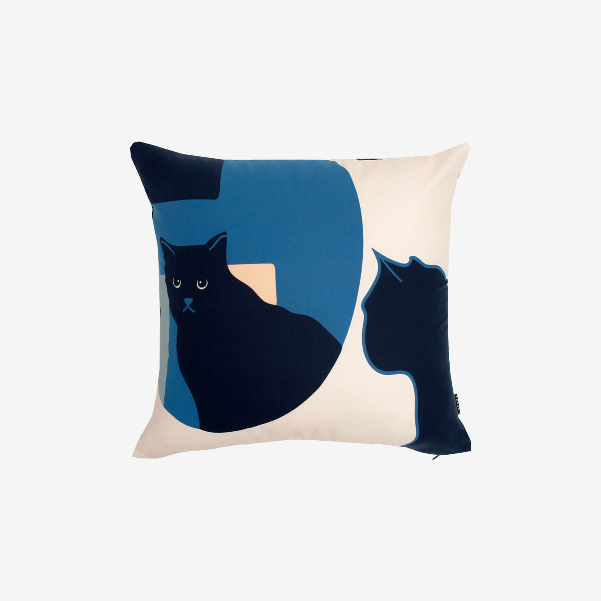 Kitty in the mirror cushion- navy