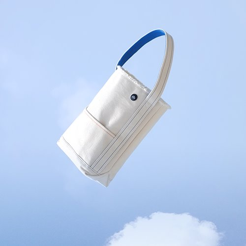 Canvas Bucket Bag / Ivory-blue(S)